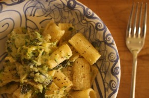 Rigatoni with zucchini, lemon & mint