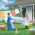 Folding sheets illustration
