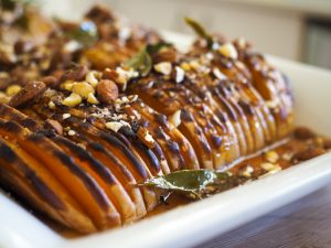 Honey Almond hasselback butternut pumpkin